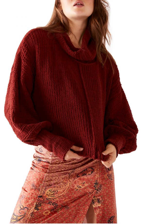 Women's Free People Be Yours Cowl Neck Sweater, Size X-Small - Burgundy