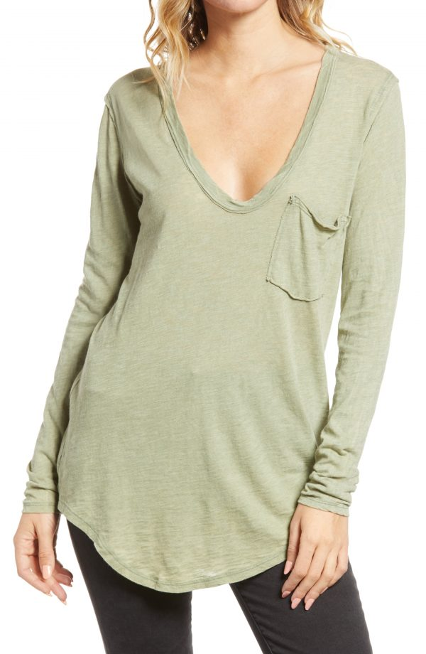 Women's Free People Betty Long Sleeve Top, Size X-Small - Green