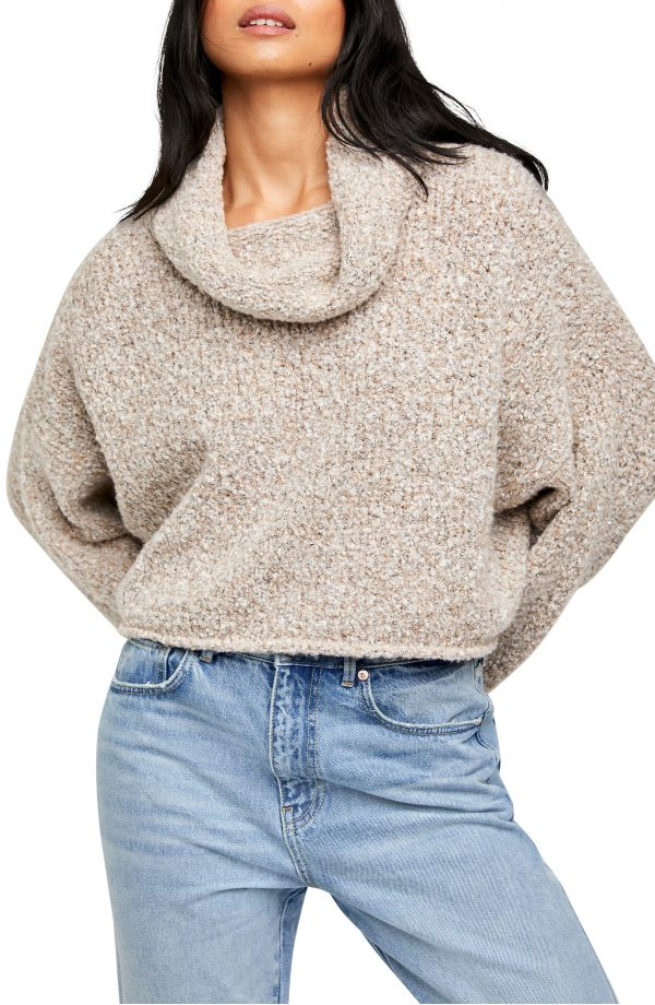 Women's Free People Bff Cowl Neck Sweater, Size Medium - Ivory