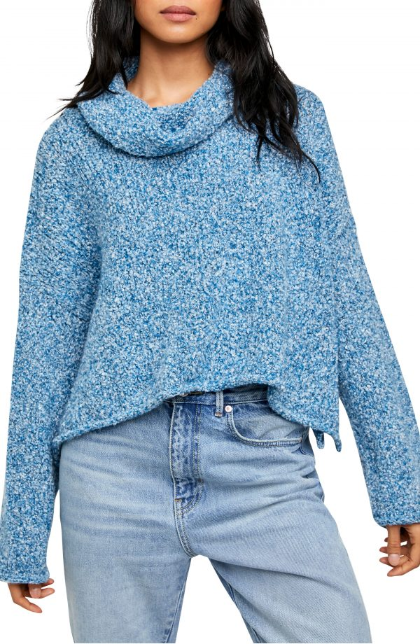 Women's Free People Bff Cowl Neck Sweater, Size X-Small - Blue
