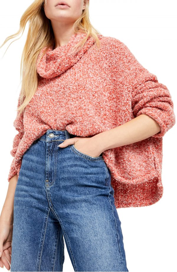 Women's Free People Bff Cowl Neck Sweater, Size X-Small - Orange