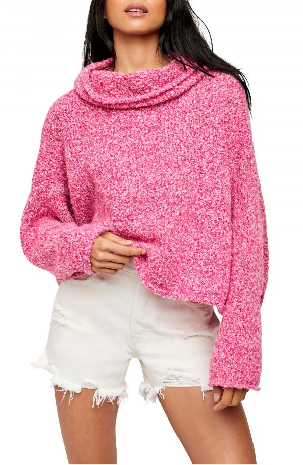 Women's Free People Bff Cowl Neck Sweater, Size X-Small - Pink