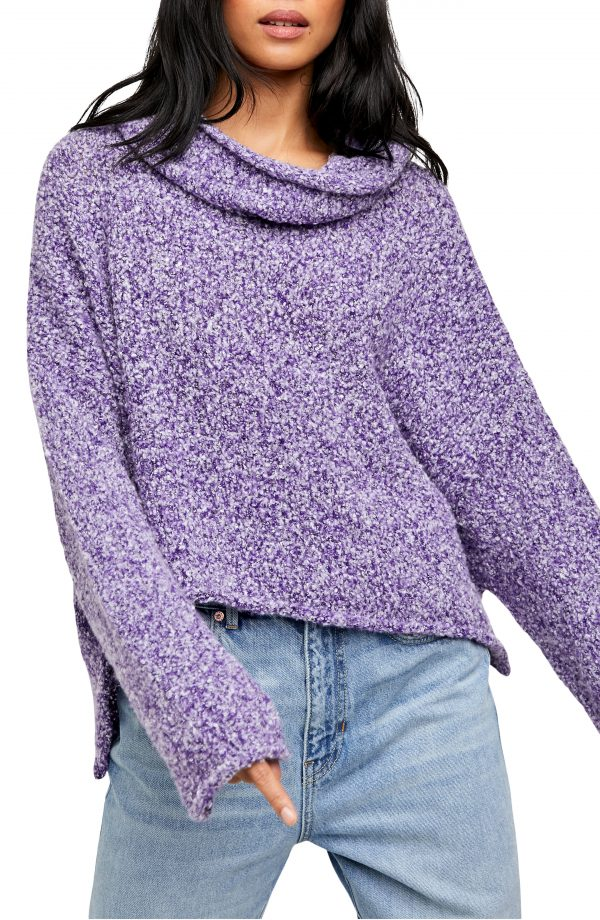 Women's Free People Bff Cowl Neck Sweater, Size X-Small - Purple