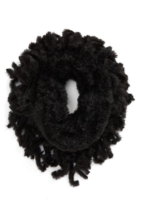 Women's Free People Cascade Fringe Cowl Neck Scarf, Size One Size - Black