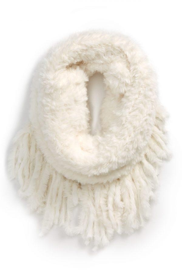 Women's Free People Cascade Fringe Cowl Neck Scarf, Size One Size - Ivory