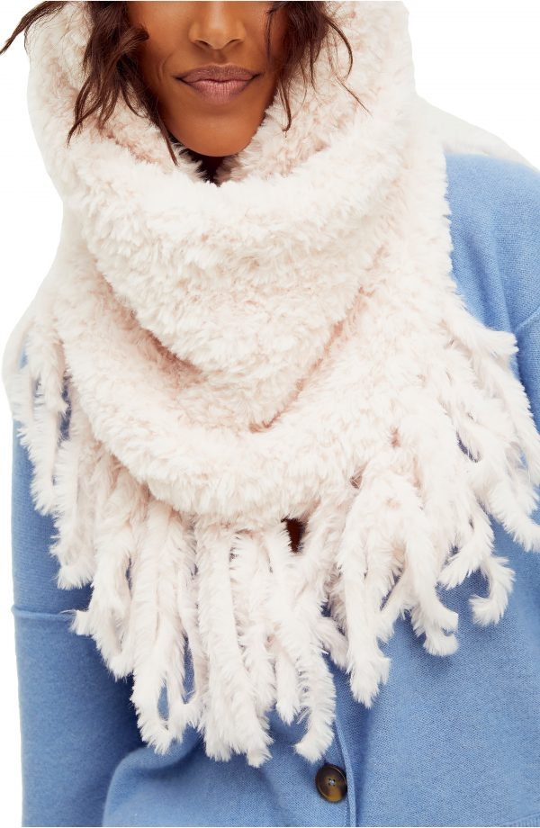 Women's Free People Cascade Fringe Cowl Neck Scarf, Size One Size - Pink