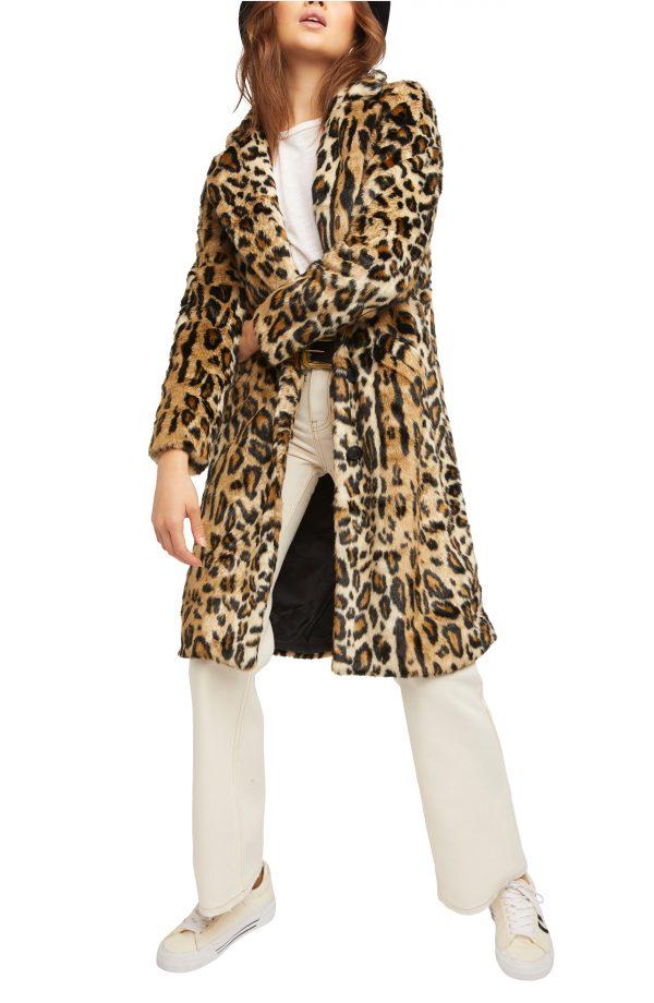 Women's Free People Chloe Leopard Faux Fur Duster Jacket, Size X-Small - Brown