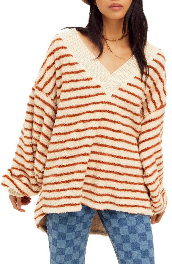 Women's Free People Connell Stripe Faux Fur Top, Size X-Small - Beige