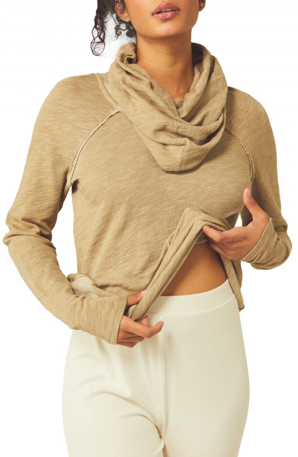 Women's Free People Cowl Neck Cocoon Pullover, Size X-Small/Small - Brown