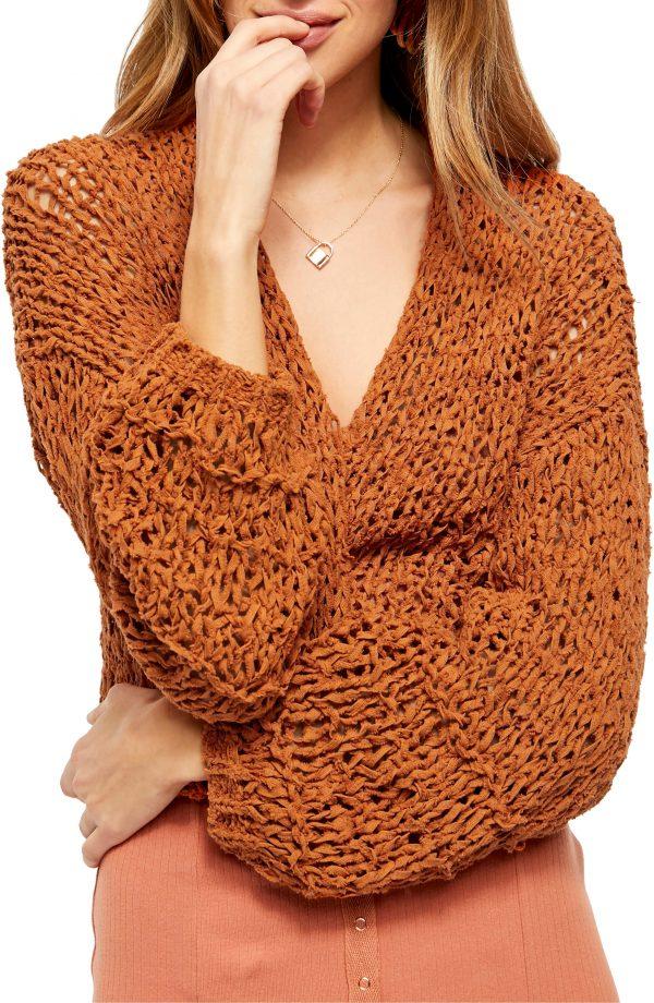 Women's Free People Daiquiri Open Front Crop Cardigan, Size X-Small - Metallic