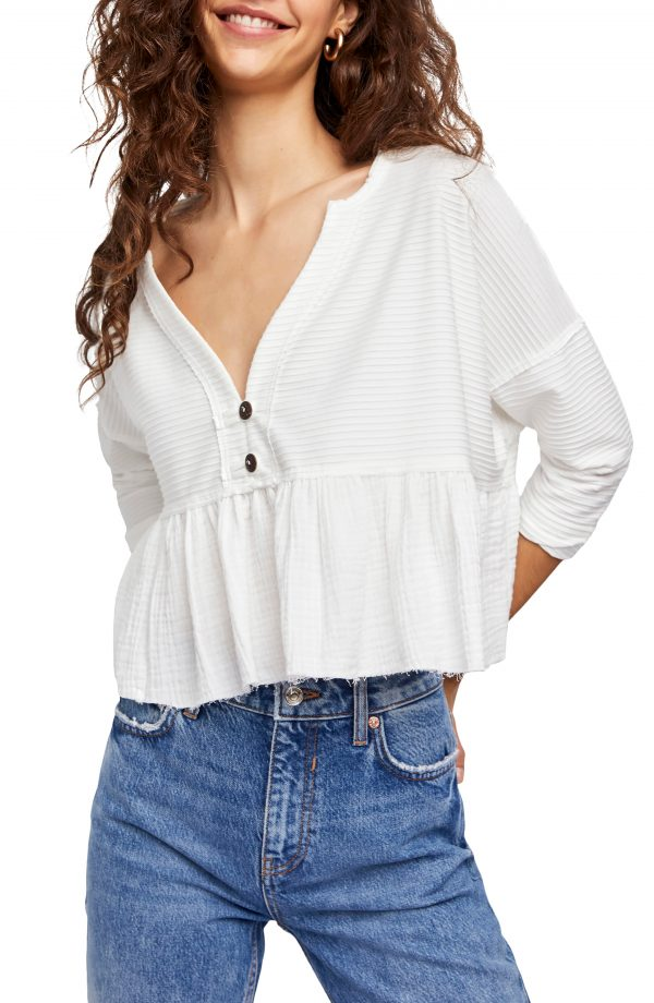 Women's Free People Dallas Crop Henley Top, Size Medium - White