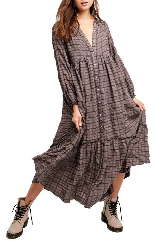 Women's Free People Edie Plaid Shirtdress, Size X-Small - Brown