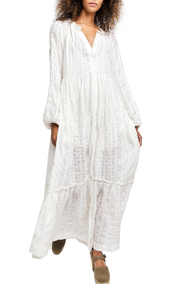 Women's Free People Edie Plaid Shirtdress, Size X-Small - Ivory