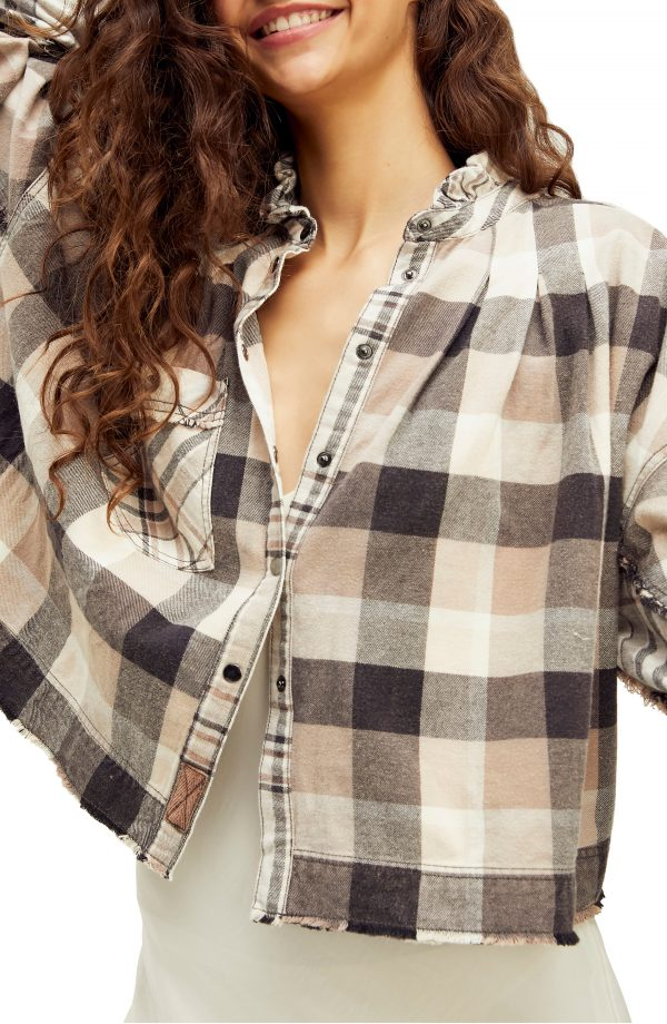 Women's Free People Emily Plaid Crop Snap Front Shirt, Size X-Small - Grey