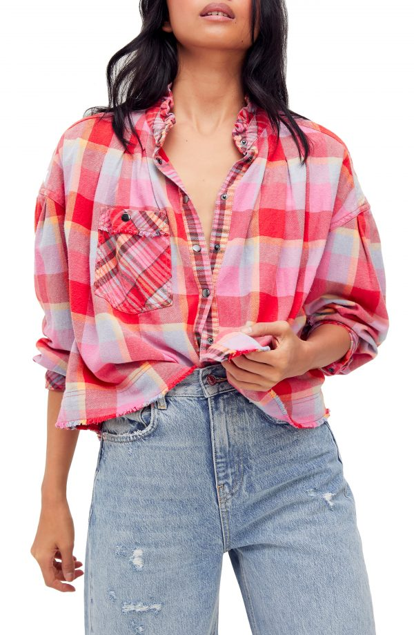 Women's Free People Emily Plaid Crop Snap Front Shirt, Size X-Small - Pink