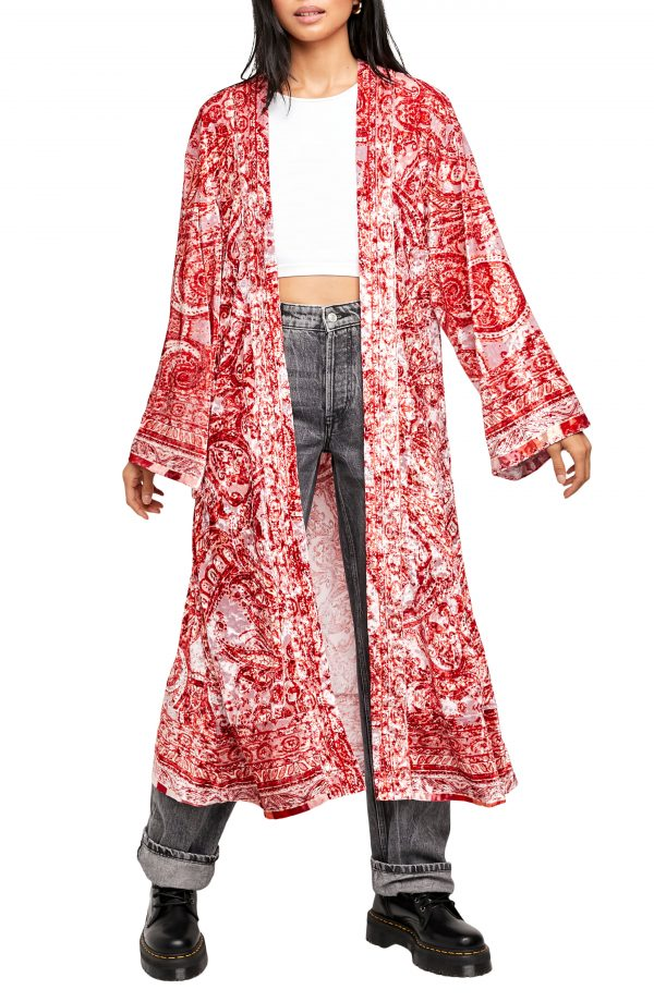Women's Free People Enchanted Print Wrap, Size X-Small - Red