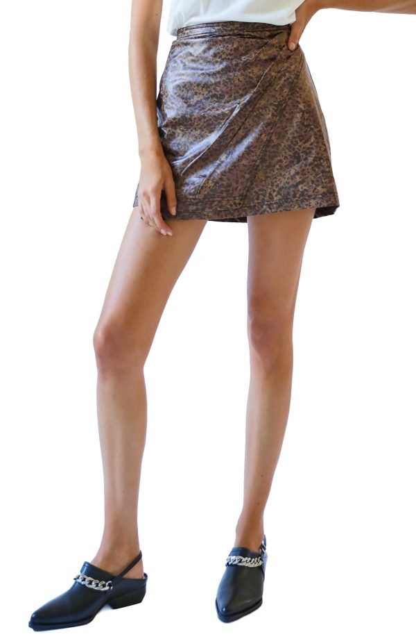 Women's Free People Fake Out Leopard Print Faux Leather Skirt, Size 0 - Black