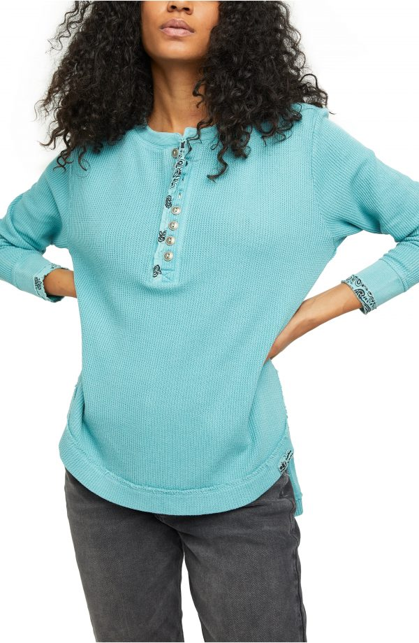 Women's Free People Fall For You Henley, Size X-Small - Blue/green