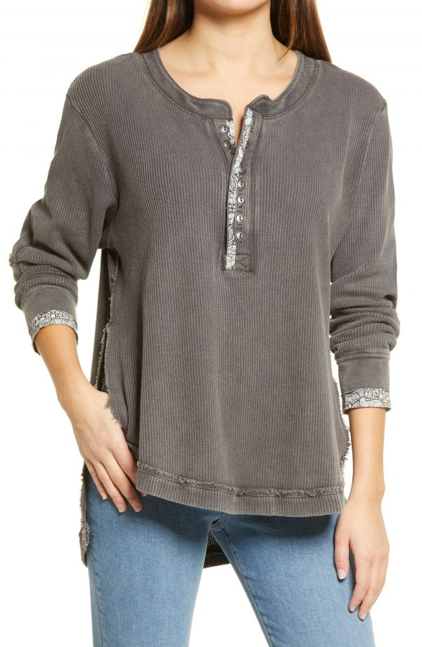 Women's Free People Fall For You Henley, Size X-Small - Grey