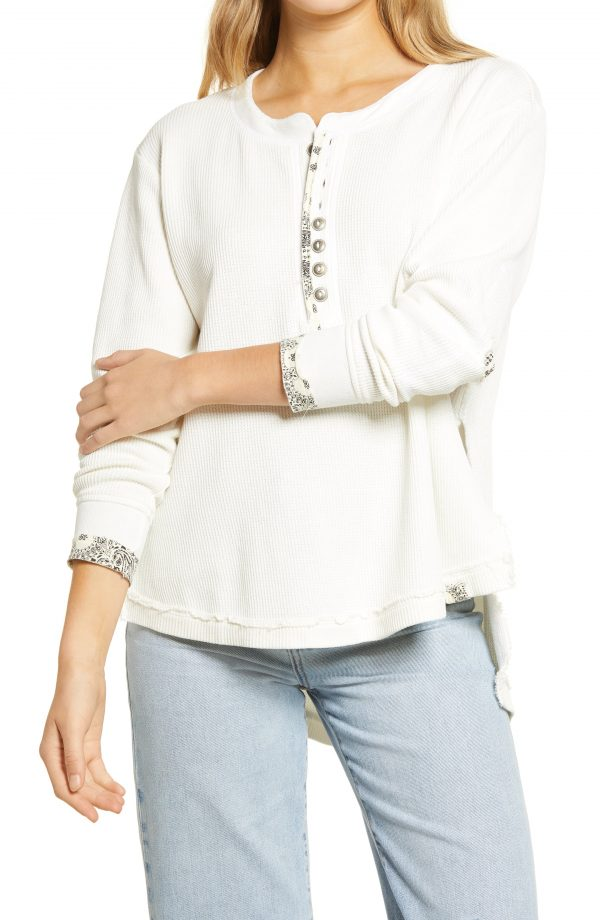 Women's Free People Fall For You Henley, Size X-Small - Ivory