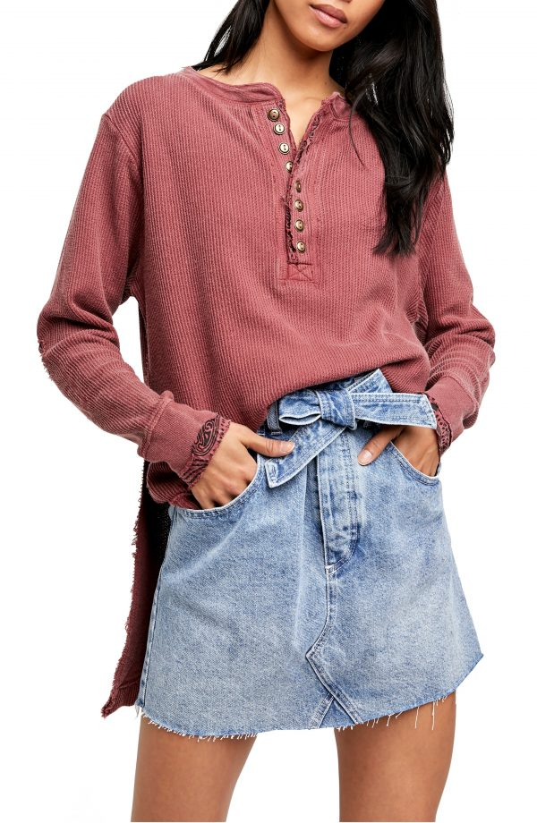 Women's Free People Fall For You Henley, Size X-Small - Red