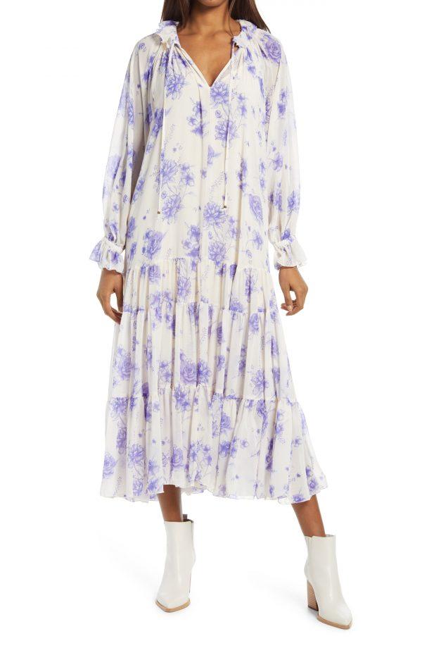 Women's Free People Feeling Groovy Long Sleeve Midi Dress, Size Small - Ivory