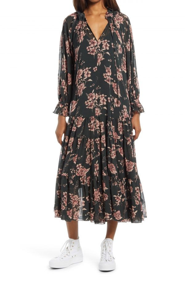 Women's Free People Feeling Groovy Long Sleeve Midi Dress, Size X-Small - Green