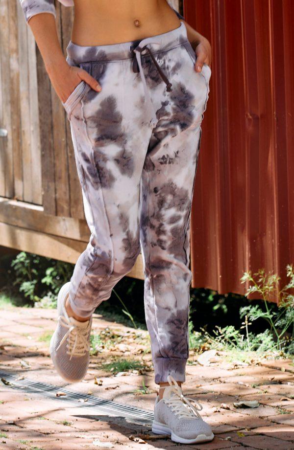 Women's Free People Fp Movement Tie Dye Pocket Joggers, Size X-Small - Black