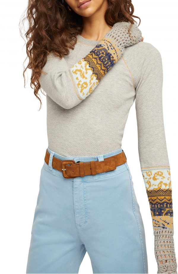 Women's Free People In The Mix Jacquard Cuff Top, Size X-Small - Grey