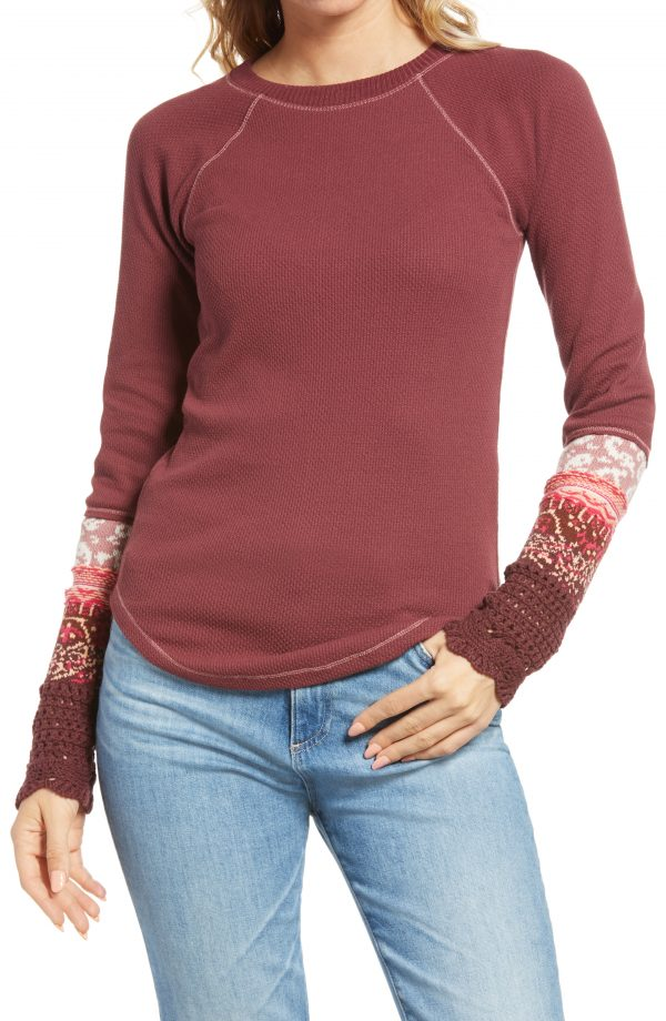 Women's Free People In The Mix Jacquard Cuff Top, Size X-Small - Red