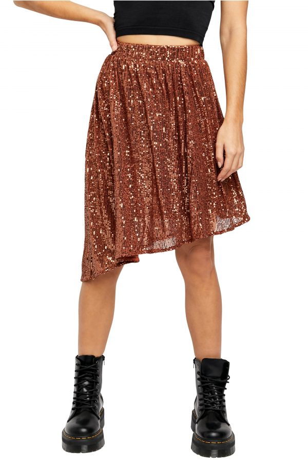 Women's Free People Last Dance Sequin Asymmetrical Skirt, Size X-Small - Brown