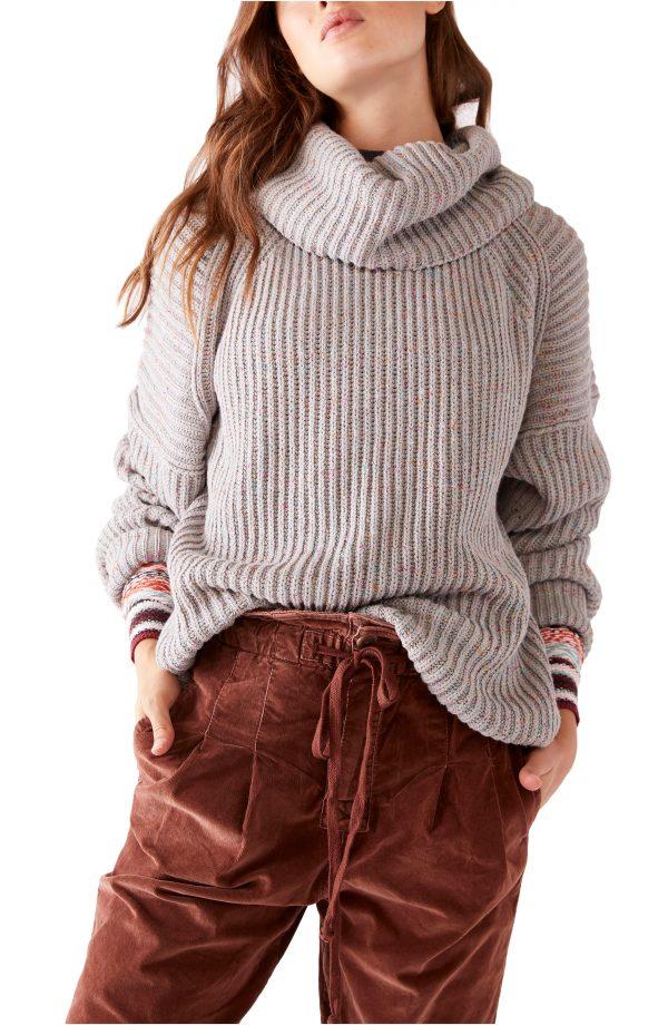 Women's Free People Leo Tunic Sweater, Size Small - Grey