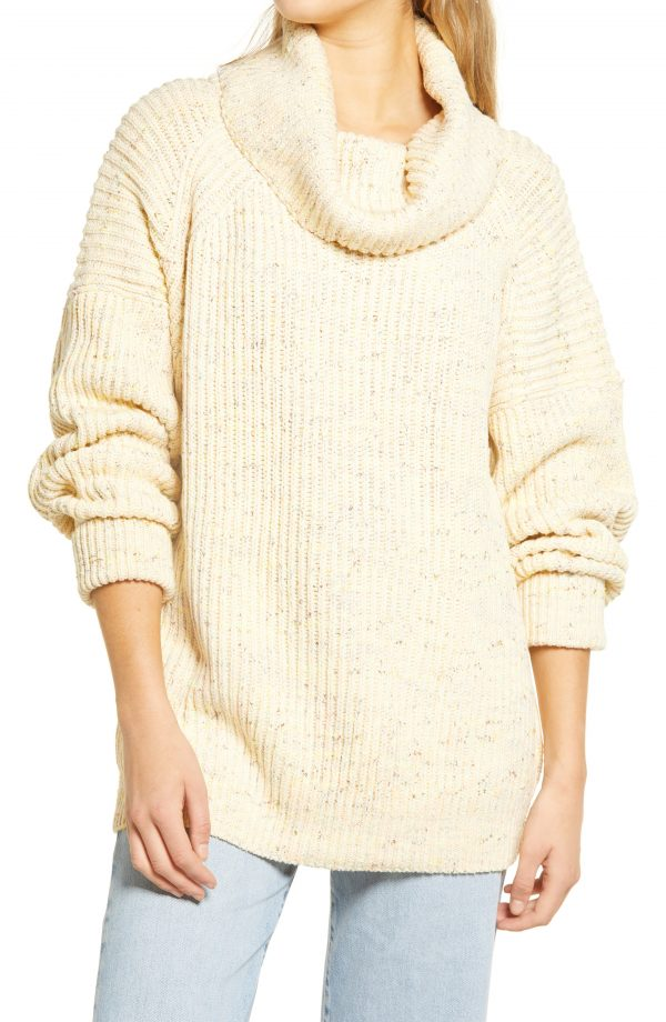 Women's Free People Leo Tunic Sweater, Size X-Small Regular - Ivory