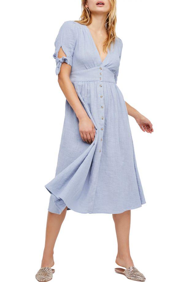Women's Free People Love Of My Life Midi Shirtdress, Size X-Small - Blue