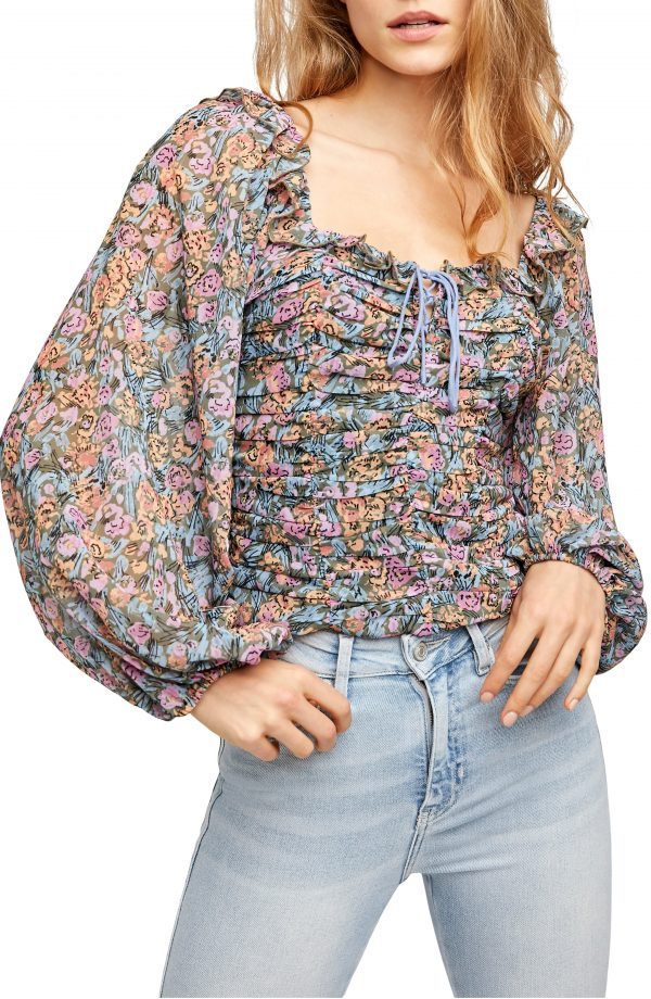 Women's Free People Mabel Print Blouse, Size X-Small - Green