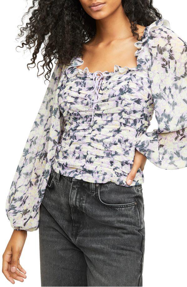Women's Free People Mabel Print Blouse, Size X-Small - Purple
