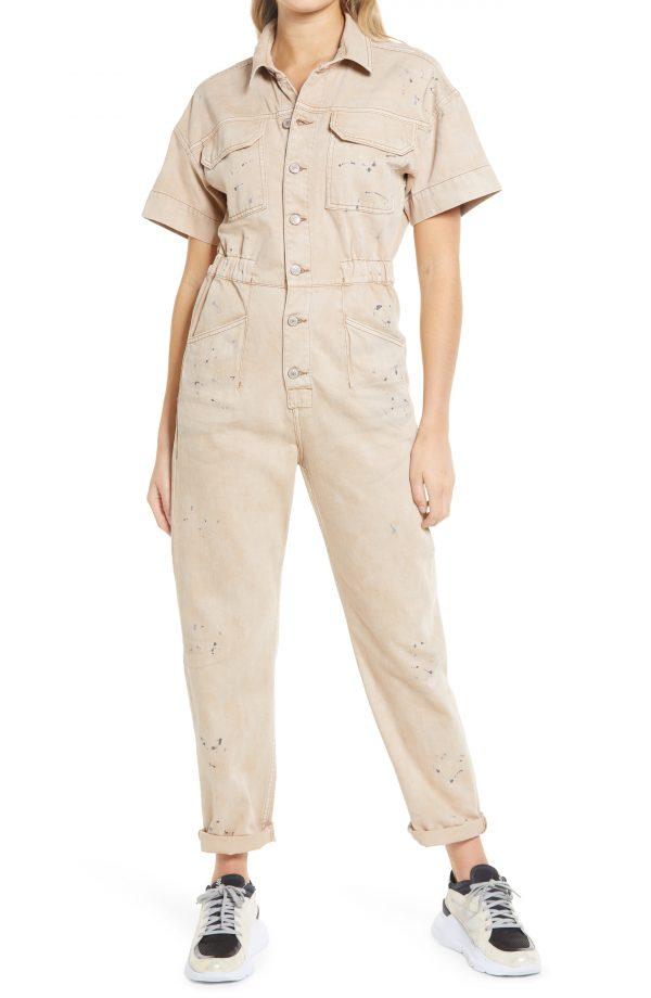 Women's Free People Marci Short Sleeve Jumpsuit, Size X-Small - Beige
