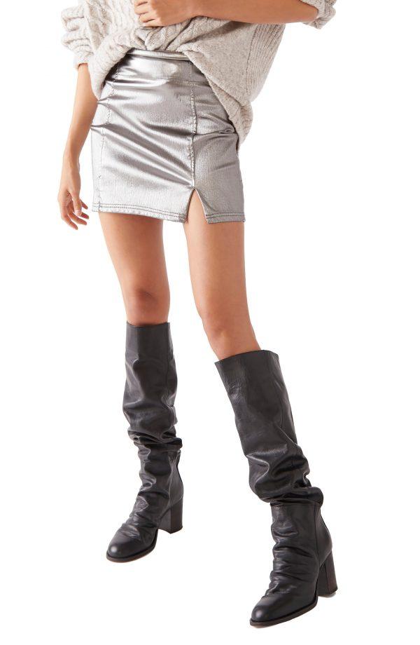 Women's Free People Metallic Miniskirt, Size 0 - Grey