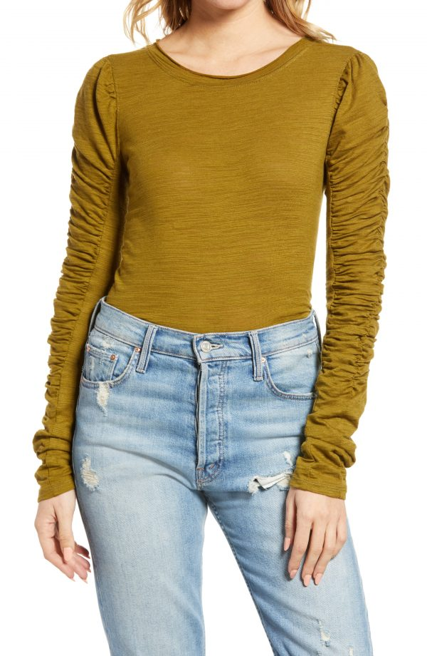 Women's Free People Natasha Ruffle Sleeve Top, Size X-Small - Green