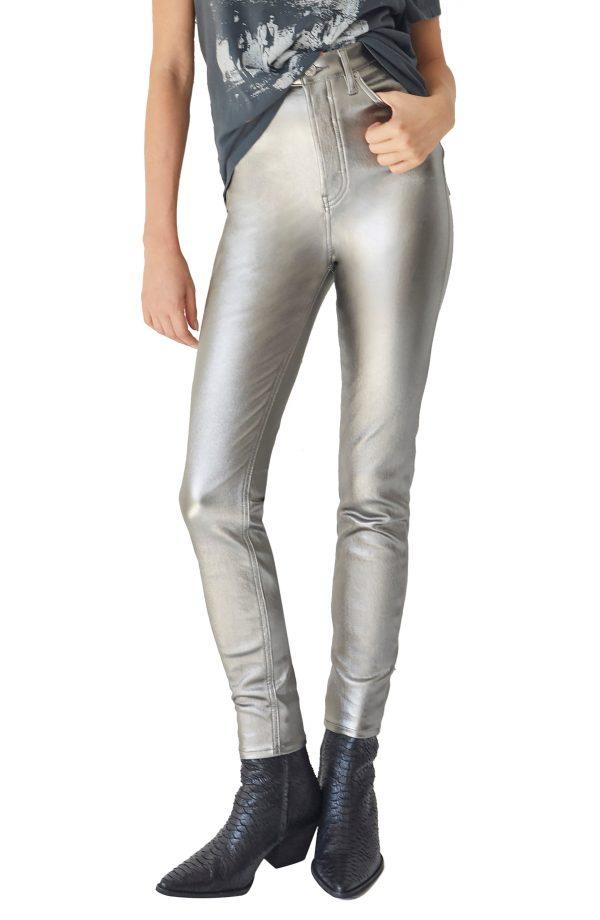 Women's Free People Phoenix Coated Skinny Jeans, Size 24 - Grey