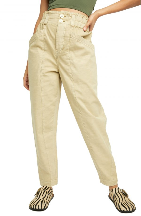 Women's Free People Ready To Run Cinch Waist Cotton Cargo Pants, Size X-Small - Ivory