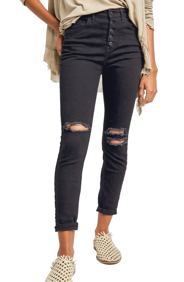 Women's Free People Sabrina Button Front High Waist Super Skinny Jeans, Size 24 - Black