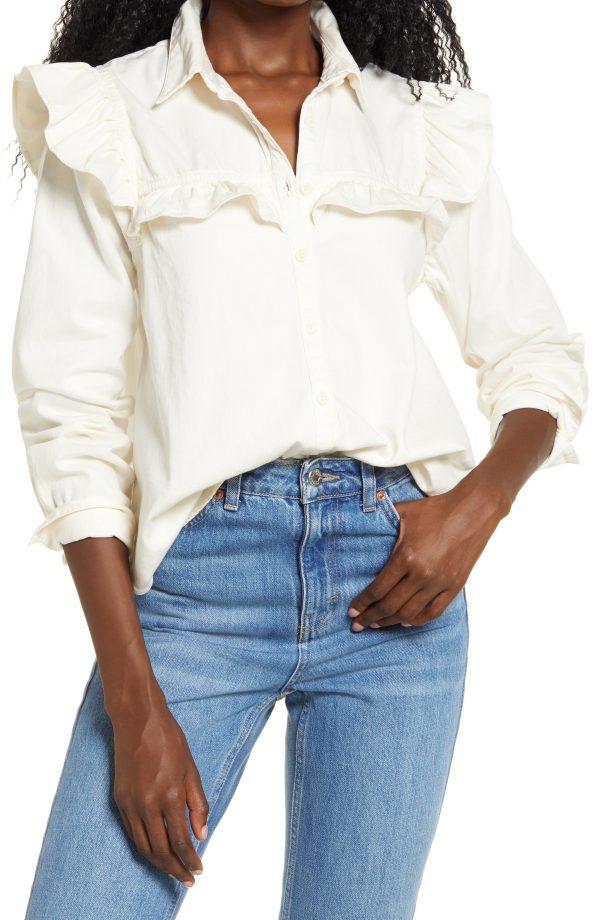Women's Free People Samantha Ruffle Button-Up Shirt, Size Medium - Beige