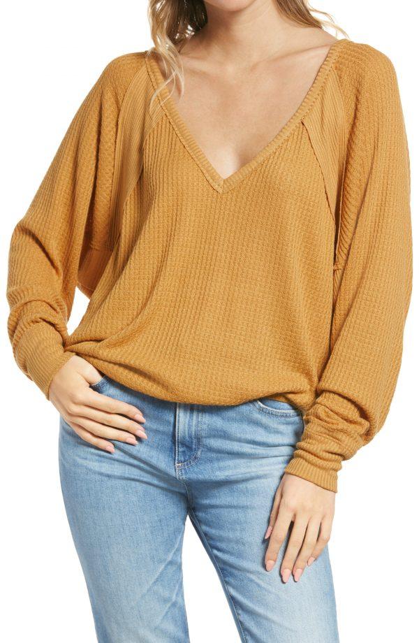 Women's Free People Santa Clara Thermal Top, Size X-Small - Yellow