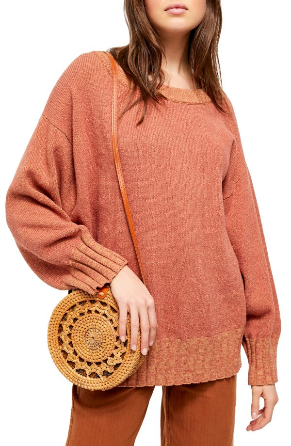 Women's Free People Street Fair Tunic Sweater, Size X-Small - Brown