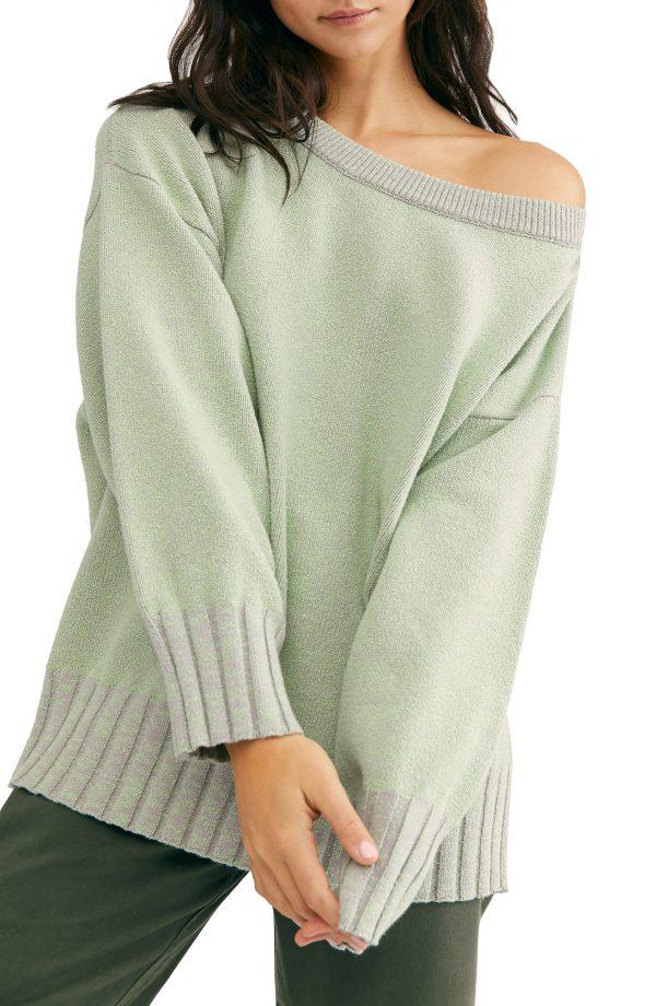Women's Free People Street Fair Tunic Sweater, Size X-Small - Grey