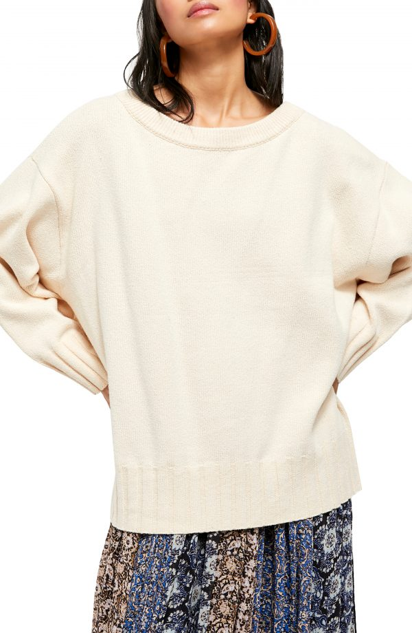 Women's Free People Street Fair Tunic Sweater, Size X-Small - Ivory