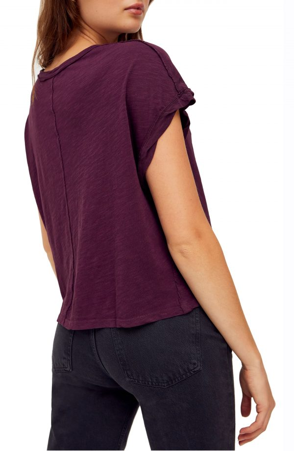 Women's Free People You Rock T-Shirt, Size X-Small - Burgundy