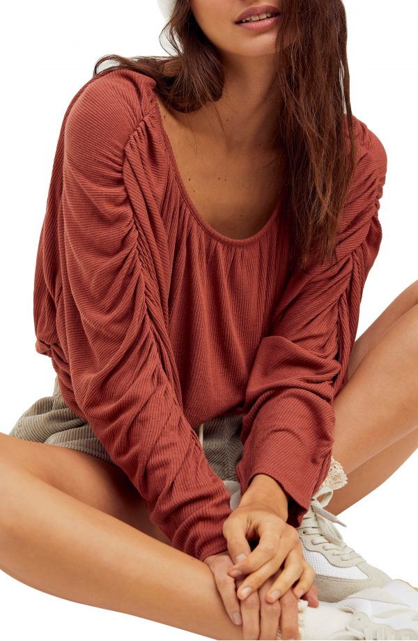 Women's Free People You'Re The One Pleated Top, Size X-Small - Red