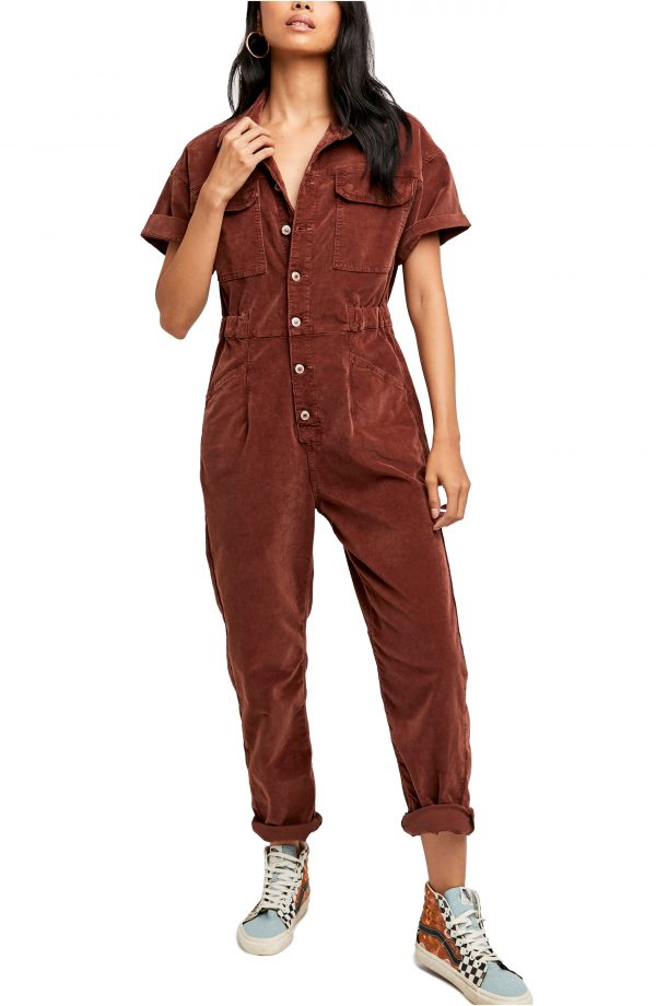 Women's We The Free By Free People Marci Corduroy Coveralls, Size Small - Brown